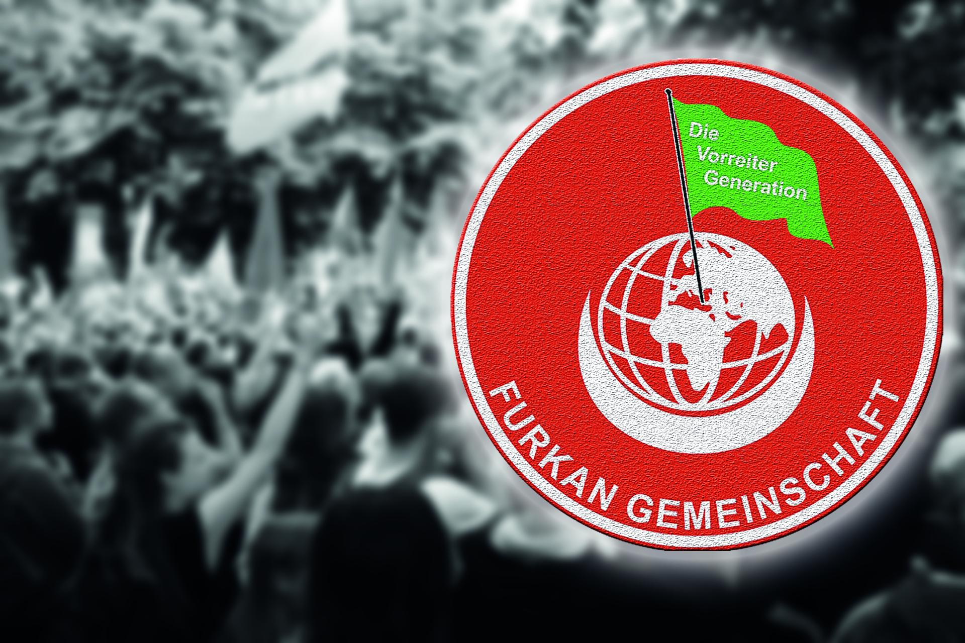 Bild einer Demonstration mit dem Logo der Furkan-Gemeinschaft