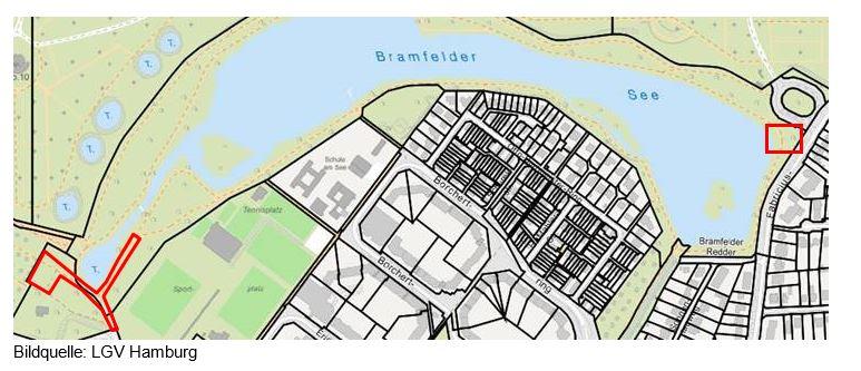 Lageplan zur Entschlammung des Volksdorfer Dorfteiches