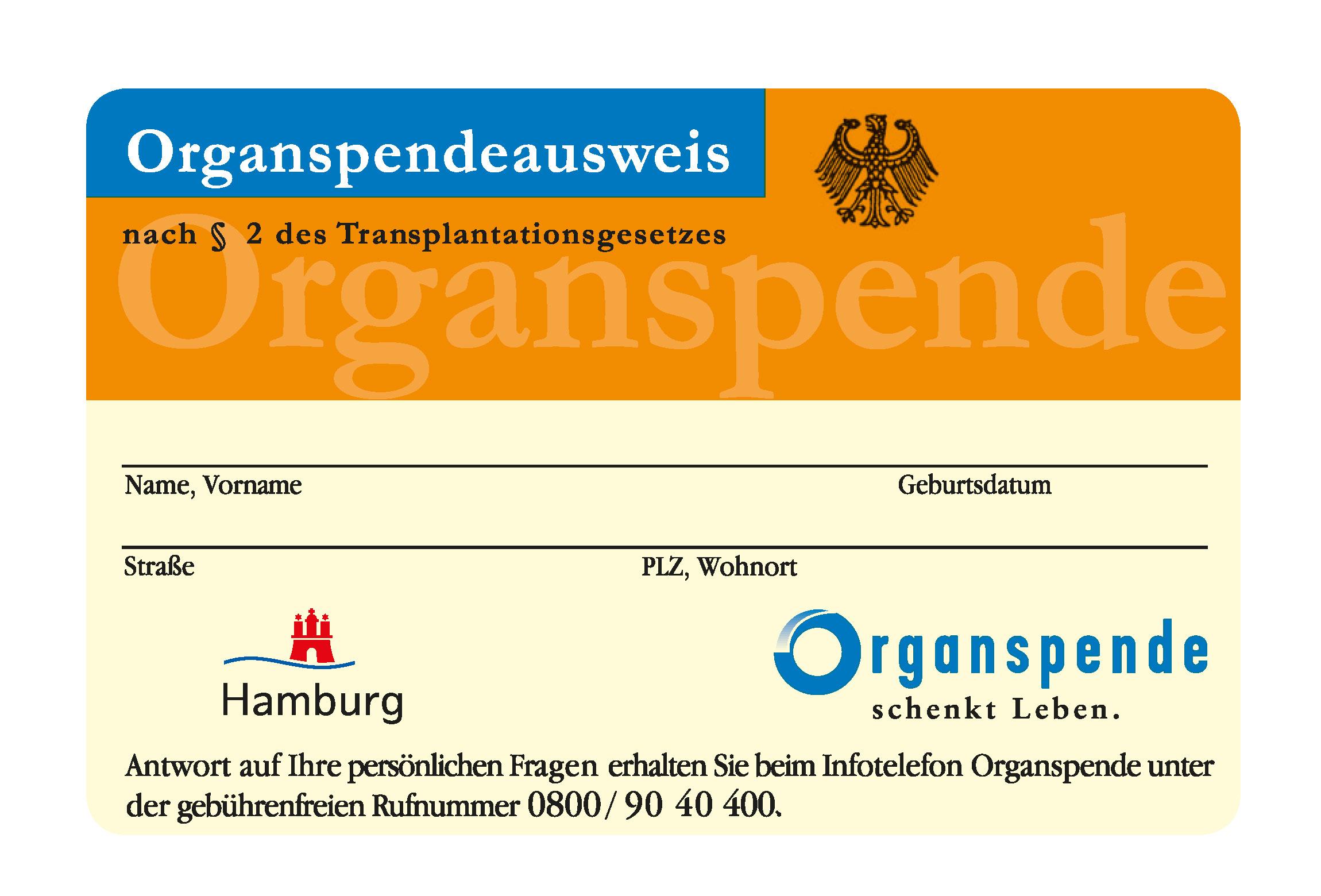organspendeausweis karte Organspendeausweis   hamburg.de