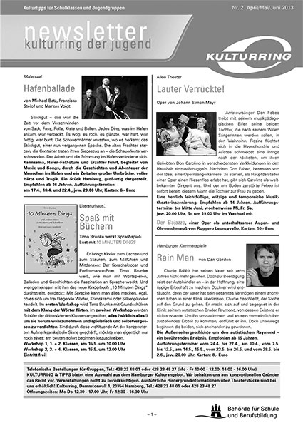 Kulturring Newsletter April, Mai, Juni 2013