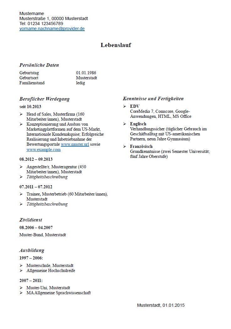Lebenslauf: Muster und Tipps zum Download - hamburg.de