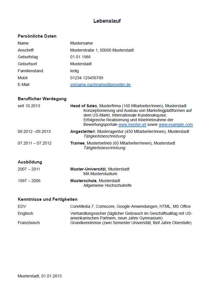 Lebenslauf Muster Und Tipps Zum Download Hamburgde