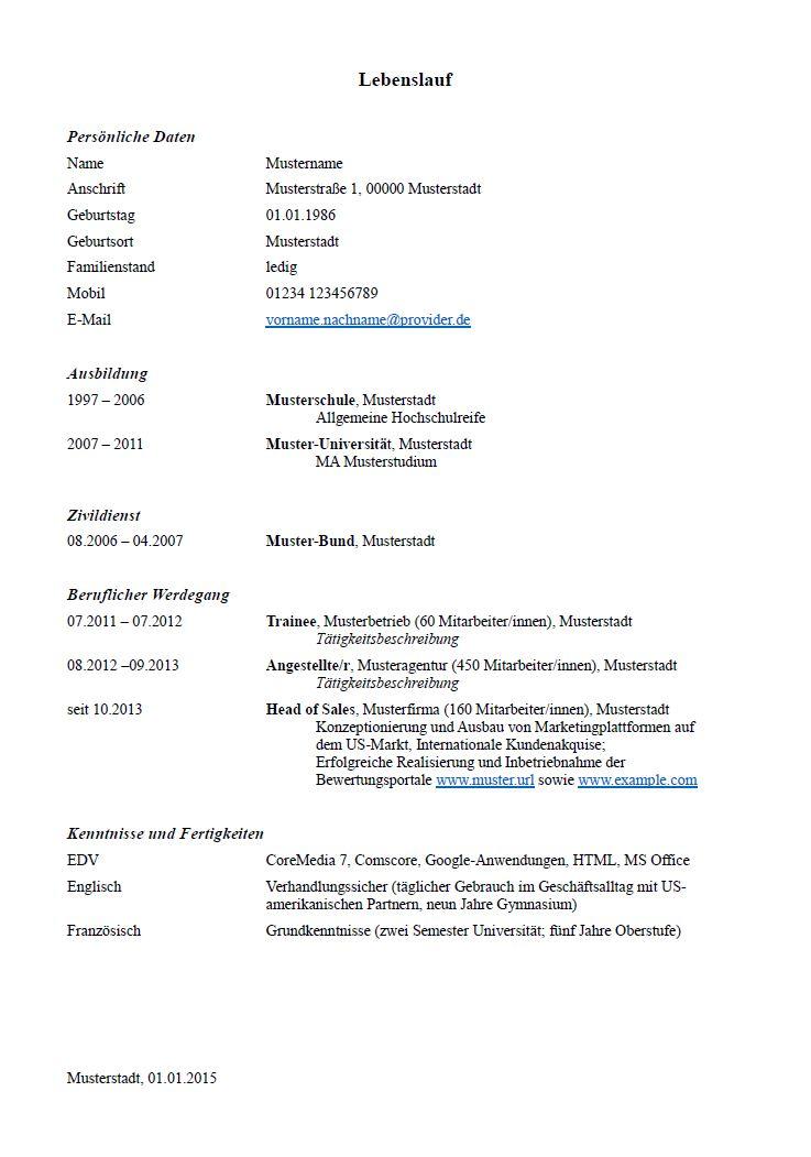 lebenslauf muster und tipps zum download hamburgde - Lebenslauf Vorlage 2013