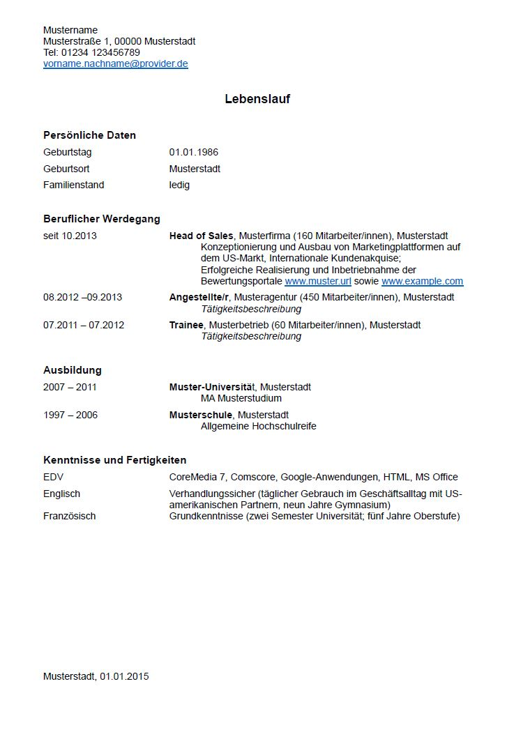 Lebenslauf: Muster und Tipps zum Download   hamburg.de