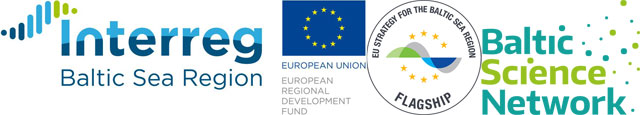 Logos: Interreg Baltic Sea Region, EUSBSR flagship, Baltic Science Network BSN