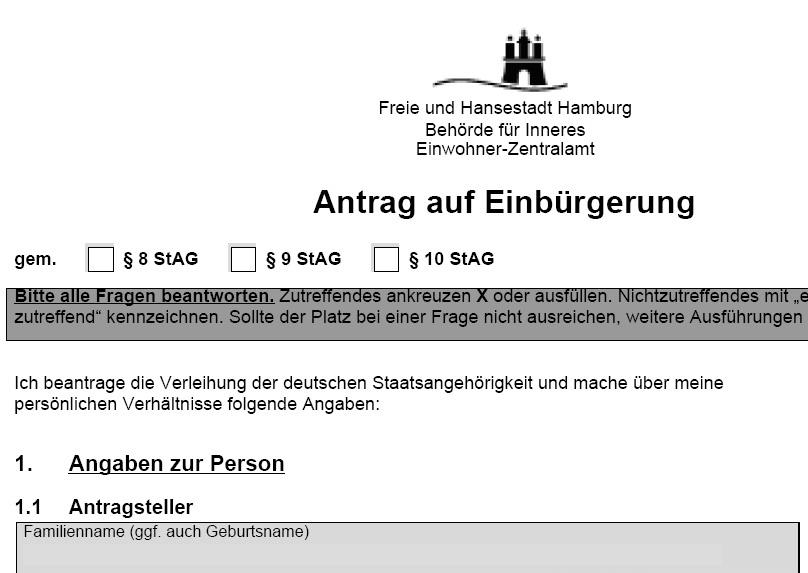Antrag auf einbürgerung muster ausgefüllt