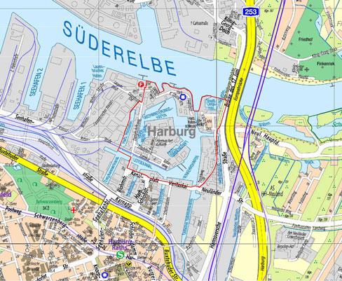 Lage des Bebauungsplangebiets Harburg 67 / Heimfeld 46