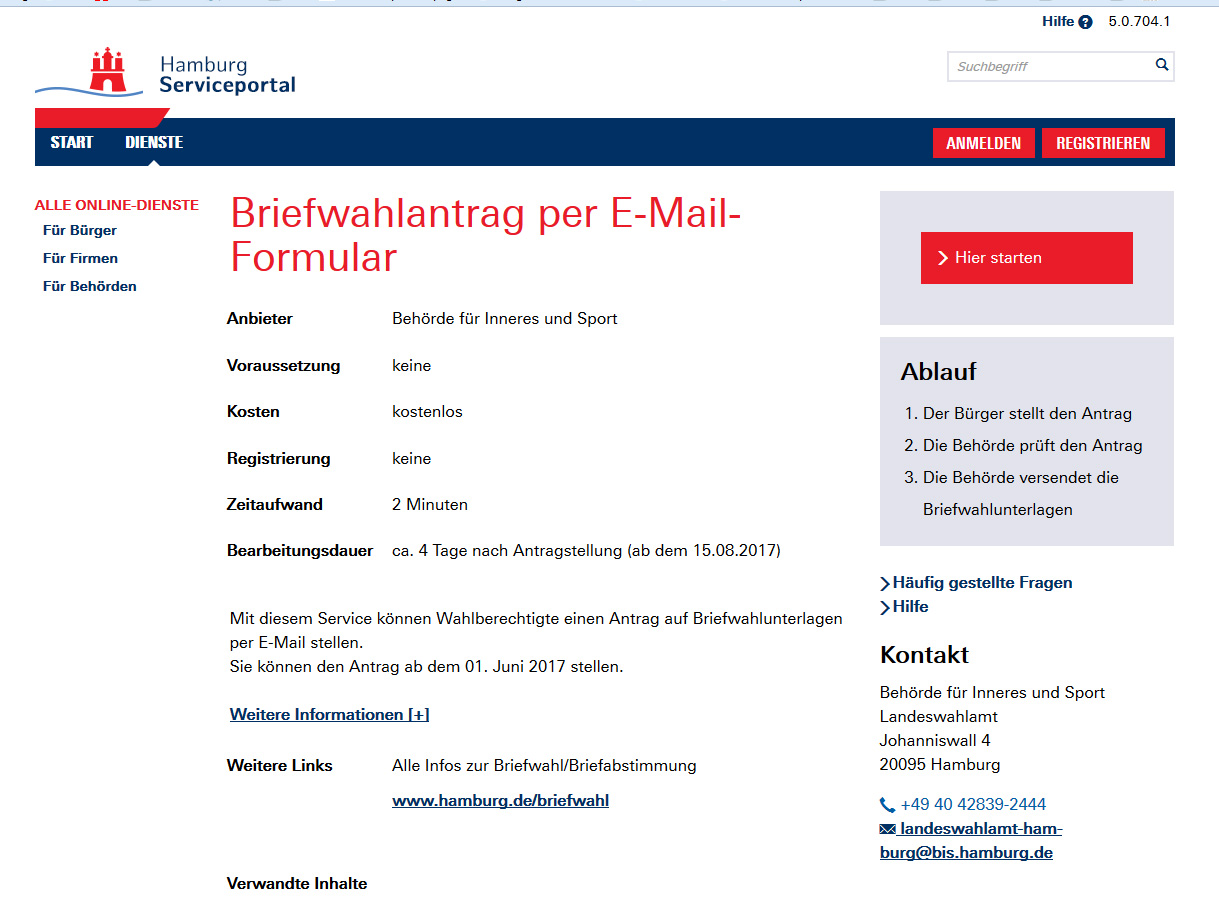 Online Briefwahlantrag Zur Bundestagswahl 2017 Innenbehörde