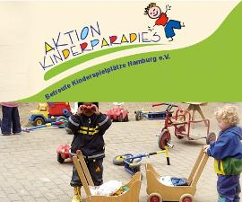 Aktion Kinderparadies e.V. - Logo und spielende Kinder
