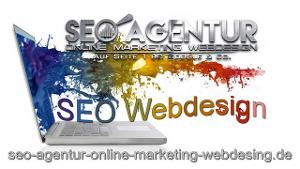 Laptop und Logo der SEO Agentur Online Marketing Webdesign