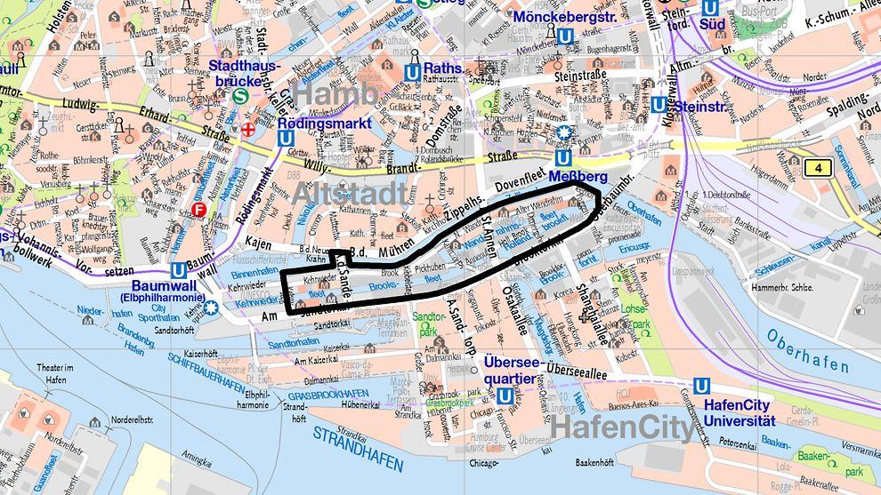 karte speicherstadt hamburg Bauflächen im Bereich der Speicherstadt   hamburg.de