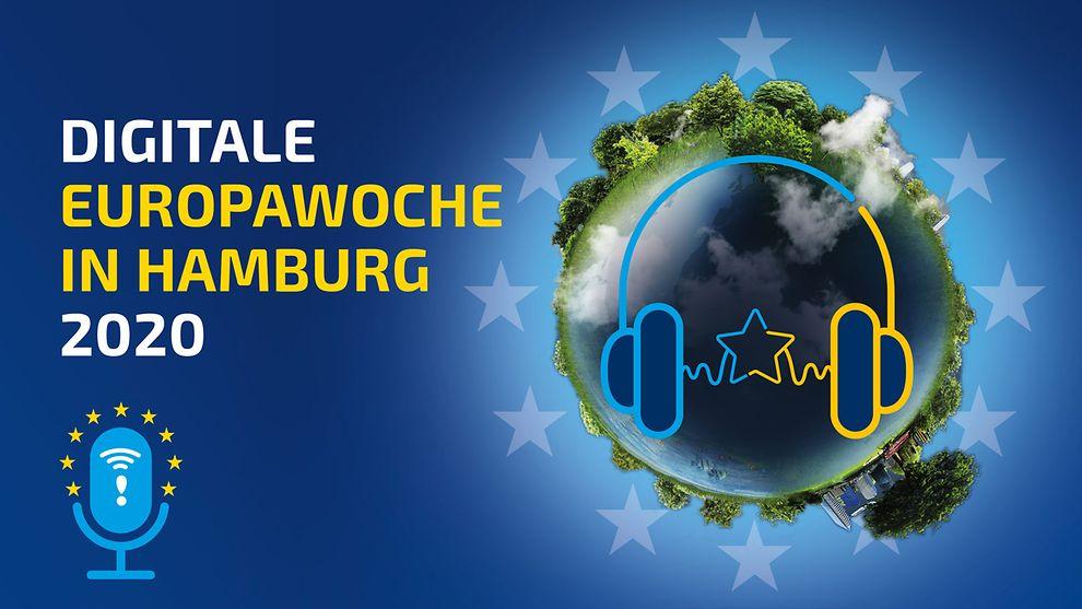Europawoche Weltkugel mit Kopfhörern / Sentaskanzlei Hamburg