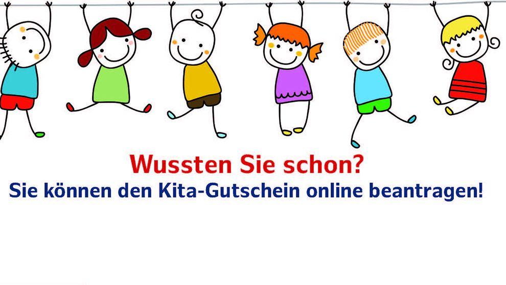 Informationsgrafik, dass der Kita-Gutschein auch online beantragt werden kann