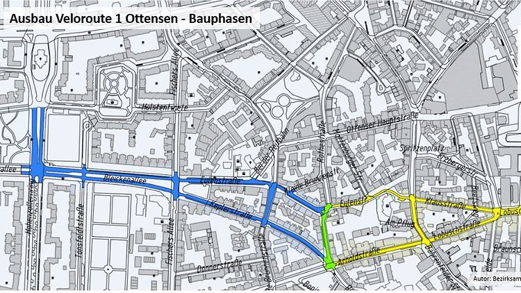 Plan Ausbau Veloroute 1 in Ottensen in drei Bauphasen
