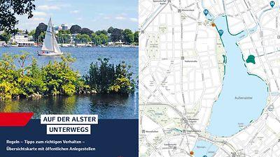 Flyer mit Gewässerkarte der Alster