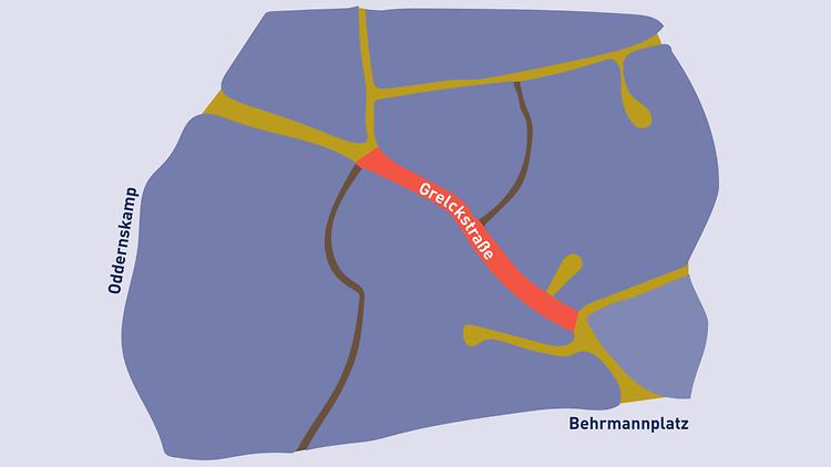 Eine Übersichts-Karte des Projektgebietes der Grelckstraße