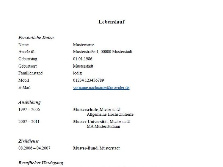 Lebenslauf Muster Und Tipps Zum Download Hamburg De