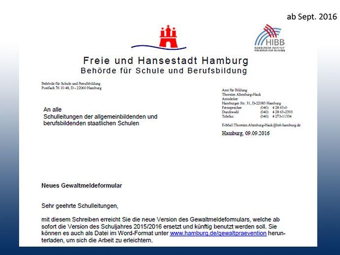 Meldebogen ,Meldeformular, Gewaltvorfälle, Hamburger Schulen ...
