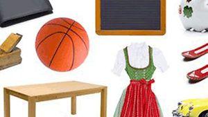 Collage mit Tisch, Ball, Dirndl und weiteren Haushaltsgegenständen / Fotolia.com / by-studio