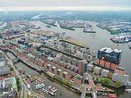 Hamburg von oben mit dem Luftschiff